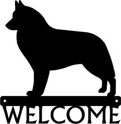 "Dog Silhouette Metal Art Welcome Sign Wall Plaque 12"" - Breed Belgian Sheepdog"