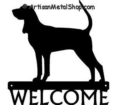 """Dog Silhouette Metal Art Welcome Sign Wall Plaque 12"""" - Breed Coonhound"""