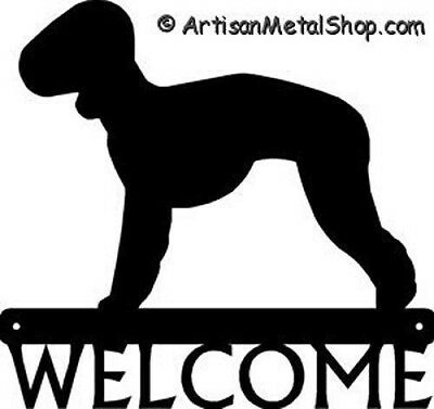 "Dog Silhouette Metal Art Welcome Sign Wall Plaque 12"" - Breed Bedlington Terrier"