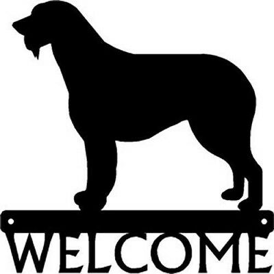 "Dog Silhouette Metal Art Welcome Sign Wall Plaque 12"" - Breed Irish Wolfhound"