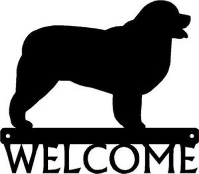 "Dog Silhouette Metal Art Welcome Sign Wall Plaque 12"" - Breed Newfoundland"