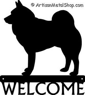 "Dog Silhouette Metal Art Welcome Sign Wall Plaque 12"" - Breed Norwegian Elkhound"