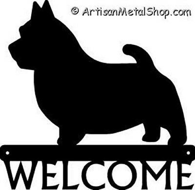 """Dog Silhouette Metal Art Welcome Sign Wall Plaque 12"""" - Breed Norwich Terrier"""