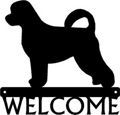 "Dog Silhouette Metal Art Welcome Sign Wall Plaque 12"" - Portuguese Water Dog"