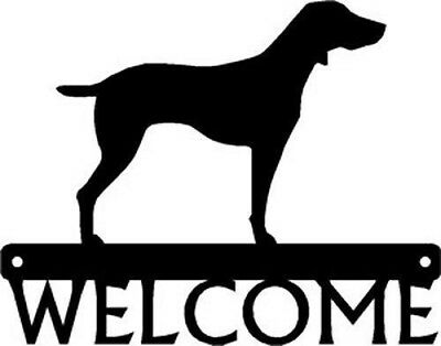 """Dog Silhouette Metal Art Welcome Sign Wall Plaque 12"""" - Breed WEIMARANER"""