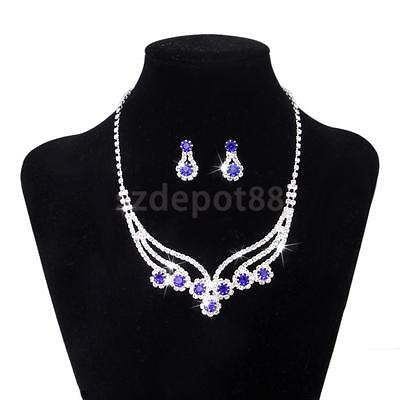 Blue Gem & Crystal Necklace Earrings Jewelry Set Bridal Wedding Formal Party
