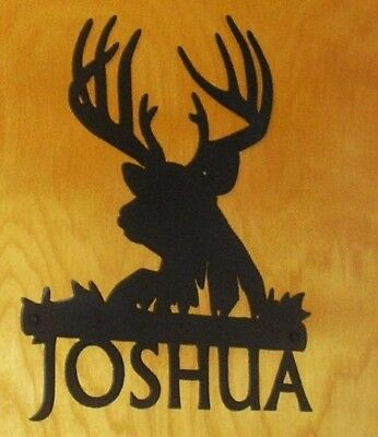 Deer Buck Head Metal Wall Art CUSTOM NAME Plaque Sign - Personalized gift