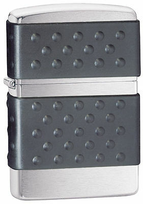 Zippo 200ZP Zip Guard Black Brushed Chrome Windproof Lighter, New in Box