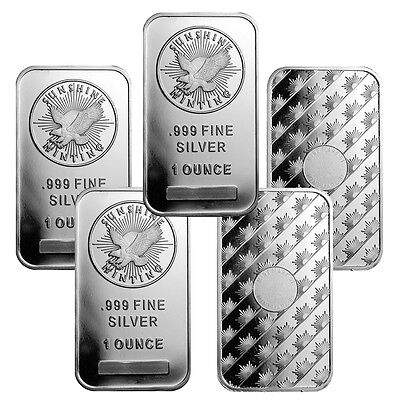 1 oz Sunshine Mint Silver Bars - 5 oz Total .999 fine (New, Lot of 5)