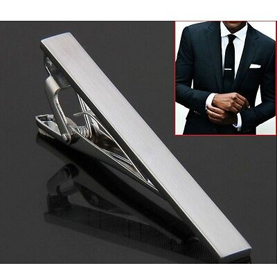 Wedding Skinny Tie Clip Pin Metal Silver Tone Fashion Mens Clasp Bar 54mm