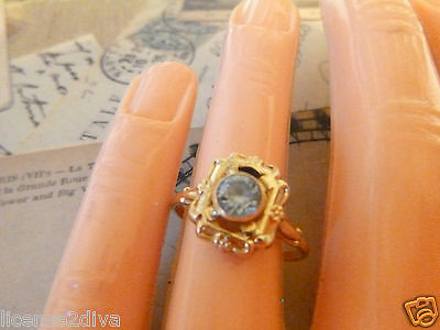 Art Deco True Vintage Blue Colored Stone 10K Gold Ring Round Bezel Set Fine Blue