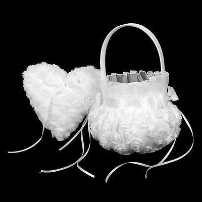 Wedding Ceremony Party White Rose Flower Girl Basket & Heart Ring Pillow Cushion
