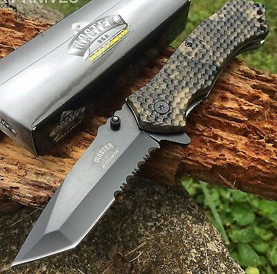 Master USA Spring Assisted Pocket Knife with Skull Camo Coated Handle Serrated