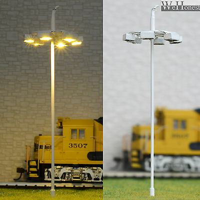 6 pcs OO / HO scale Model Lamp warm white LEDs made Plaza Lamppost Street Light