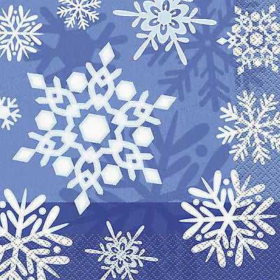 Pack of 16 33cm Christmas Snowflake Paper Napkins - Winter Xmas Party Tableware