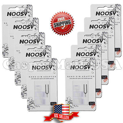 10X Nano SIM Card to Micro Standard Adapter Converter Set For iPhone 5 4S 4white