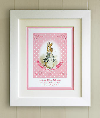 PERSONALISED Peter Rabbit New Baby/Birth FRAMED PRINT, Boy & Girl, Picture Gift