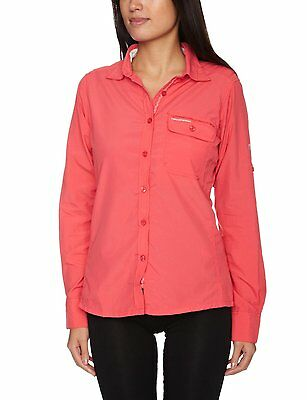 New Craghoppers Womens Darla Shirt Top With Anti-Mosquito Sizes Uk 12,14 Red