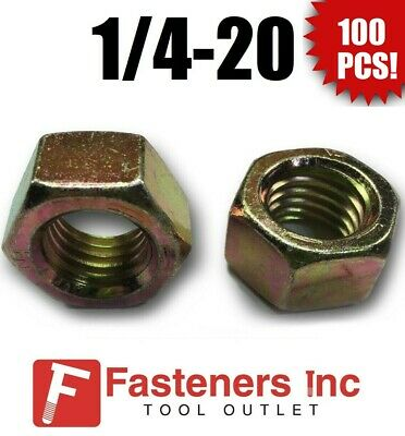 (Qty 100) 1/4-20 Grade 8 Finish Hex Nuts Yellow Zinc Plated Hardened