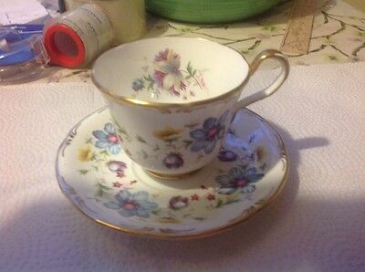 John Aynsley Cup & Saucer Blue Purple Flowers English Gold Vintage Bone China