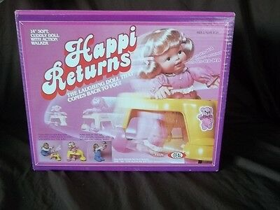 "Ideal Vintage 1983 Happi Returns 14"" Doll Laughs + Walker Mib Rare Never Opened"