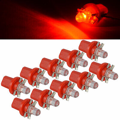 10x12V Red T5 B8.5D 1SMD LED Interior Dome Dashboard Panel Side Light Bulb QA5