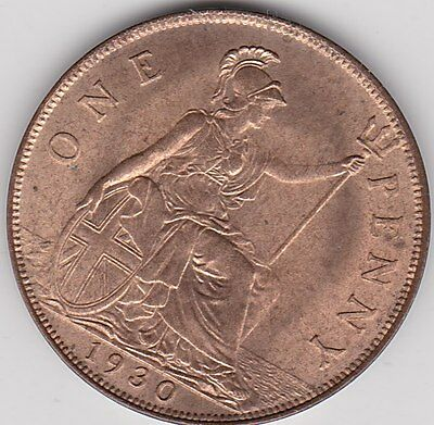 1930 George V Penny In Near Mint To Mint Condition