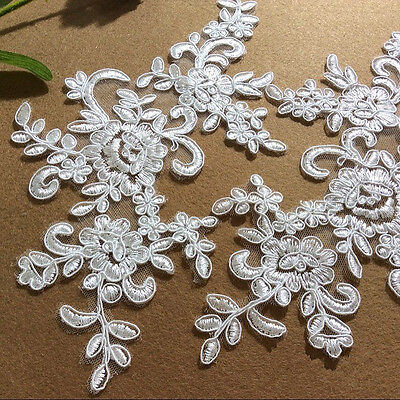 Bridal Lace Applique Floral Corded Wedding Motif Ivory Lace Applique Trim 1 Pair