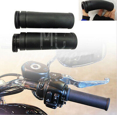 """1"""" 25mm Black Moto Rubber Hand Grips HandleBar For Harley twin cable throttle"""