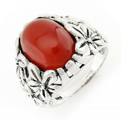 Sterling Silver Ring with Carnelian Size 10