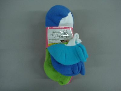 NWT Burlington Perfect Comfort Cushioned Tab Footie Socks Multi 6 Pair #249K