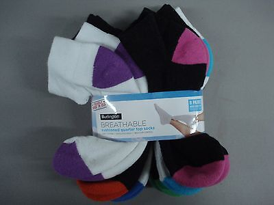 NWT Burlington Cushioned Breathable Quarter Top Socks Multi 8 Pair #253K