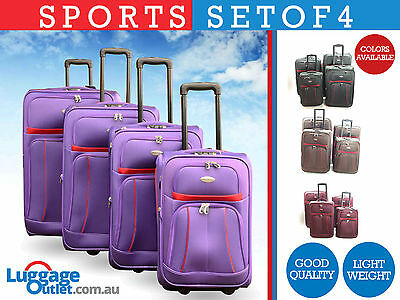 Travel luggage Set of 4 with 2 wheels Trolley High Quality Fabric in 4 colors