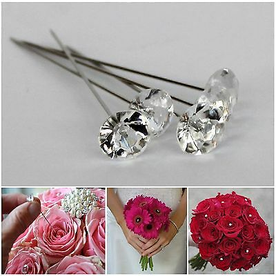 25x CLEAR Diamante Pin Wedding Bouquet Corsage Floral Florist Pins Decoration