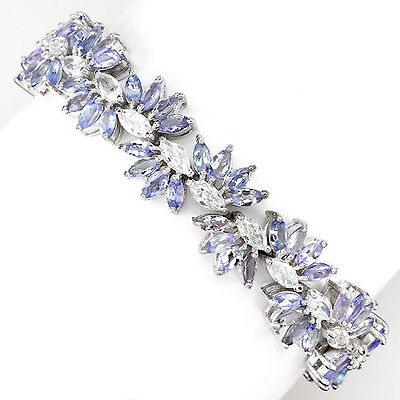 Sterling Silver 925 Genuine Natural Tanzanite Gemstone Bracelet 7 Inch