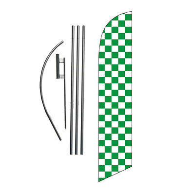 Green and White Checkered 15' Feather Banner Swooper Flag Kit with pole+spike