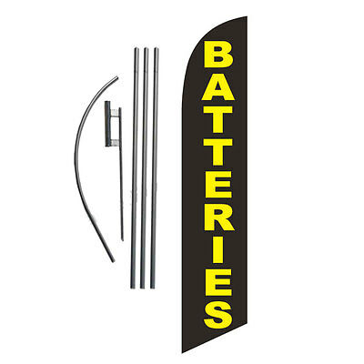BATTERIES 15' Feather Banner Swooper Flag Kit with pole+spike