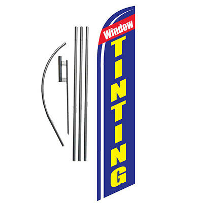 Window Tinting 15' Feather Banner Swooper Flag Kit with pole+spike