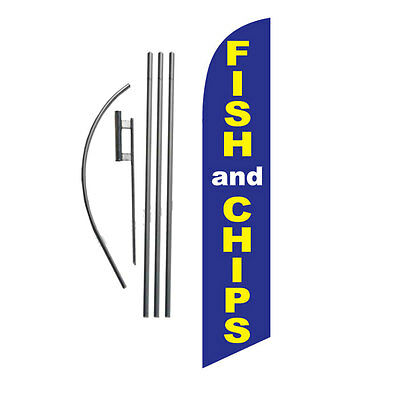 Fish and Chips 15' Feather Banner Swooper Flag Kit with pole+spike