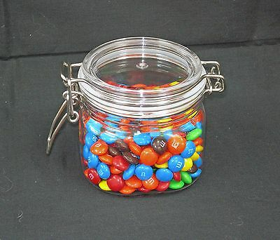 Clear PET Square Wire Bale Jars w/ Hinged Lids NEW Sizes 5, 7, 13.5 oz