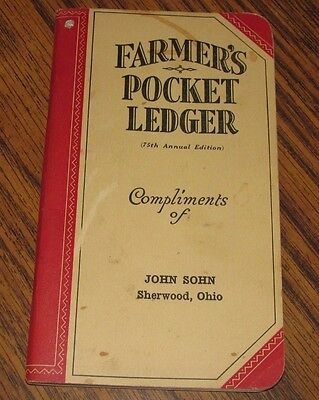 1941-1942 John Deere Farmers Pocket Ledger JOHN SOHN SHERWOOD OHIO 75th Edition