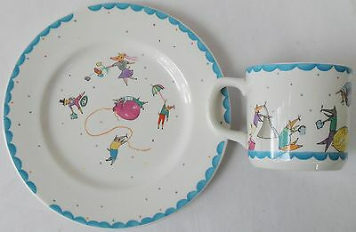 Vintage 1970s NICE MICE Made in England Children's Colourful Mug & Plate Set