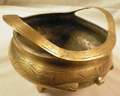 Antique Vintage Asian Oriental Solid Brass Ornate Inscribed Potpourri  Ash Tray