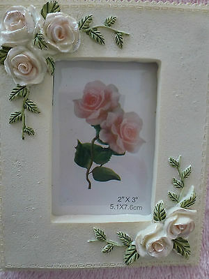"""Pretty Rose Flower Picture Frame for 2""""x3"""" photo ~ New with box"""