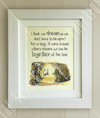 Winnie the Pooh FRAMED QUOTE PRINT, Baby/Birth, Nursery Picture Gift Bear Tigger