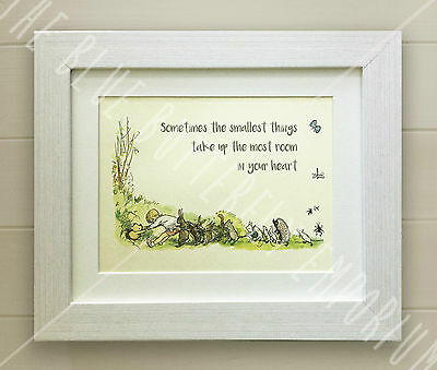 Winnie the Pooh LOVELY FRAMED QUOTE PRINT, Baby/Birth Nursery Picture Gift Bear
