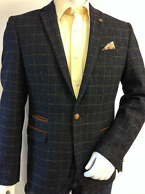 Mens Designer Marc Darcy Tweed Herringbone Vintage Coat Jacket Checked  Blazer