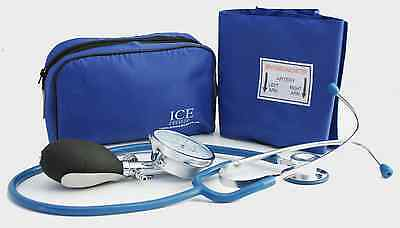 Blue Aneroid Blood Pressure Monitor - Sphygmomanometer & Blue Stethoscope
