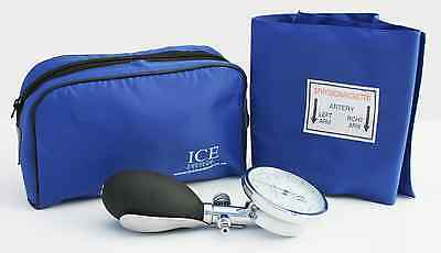 Blue Aneroid Blood Pressure Monitor - Sphygmomanometer Adult Cuff
