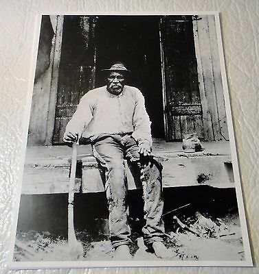 Vintage 8 x 10 Early Black Farmer in Texas Photograph - Old Man with Axe